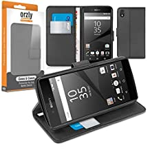 Orzly® - Multi-Function Wallet Case for SONY XPERIA Z5 SmartPhone (2015 Phablet Model / ORIGINAL FULL SIZE VERSION) - BLACK Wallet Case Style Phone Cover with Card Pockets & Integrated Display Stand