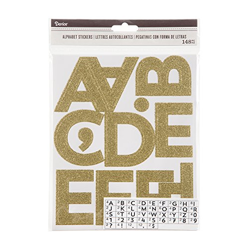 Darice Glitter Gold Alphabet Adhesive Backed Stickers, 100 Piece -