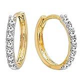 0.20 Carat (ctw) 10K Yellow Gold Round White Diamond Ladies Huggies Hoop Earrings 1/5 CT