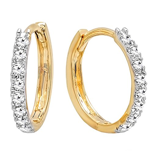 - Dazzlingrock Collection 0.20 Carat (ctw) 14K Round White Diamond Ladies Huggies Hoop Earrings 1/5 CT, Yellow Gold