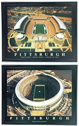 Pittsburgh Steelers Heinz Field Framed - Framed Pittsburgh Heinz Field & Three Rivers Stadium Prints (SET OF 2)