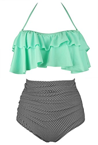 COCOSHIP Pale Green & Black Striped Retro Boho Flounce Falbala High Waist Bikini Set Chic Swimsuit Bathing Suit M(FBA) -
