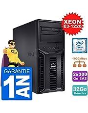 Dell Serveur PowerEdge T110 II Xeon QuadCore E3-1220 32Go 2x300Go Perc H200 SAS (Reconditionné Certifié)