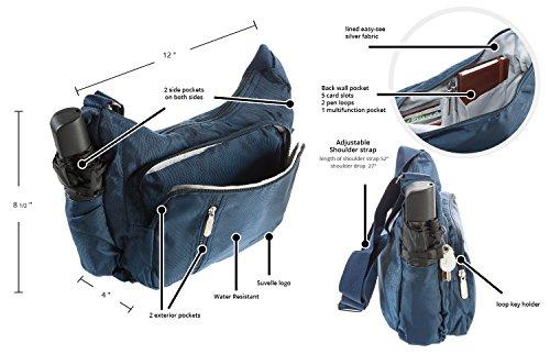 Suvelle Lightweight Slouch Travel Everyday Crossbody Bag Multi Pocket Shoulder Handbag 2054