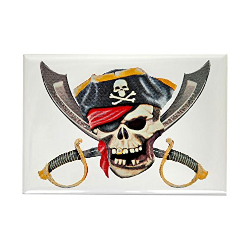 (Rectangle Magnet Pirate Skull Eyepatch Gold Tooth)