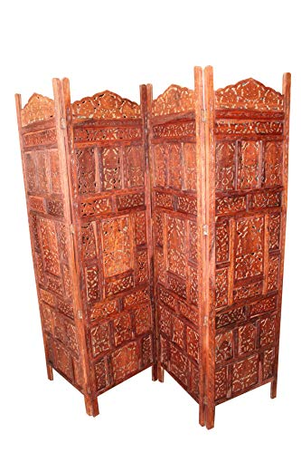 - Mogul Interior 4 Panel Divider Hand Carved Indian Screen Headboard Vintage Rosewood Earthy Brown Room Divider