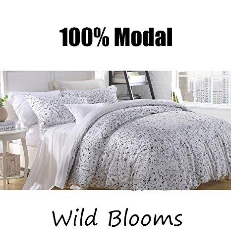 Victoria 'sローズ100 % Lenzing Modal 4-piece Ultraソフトベッドシートセット、自然ブナ繻子織り – クイーンサイズ(ワイルドブルーム) B07D6WMNBY