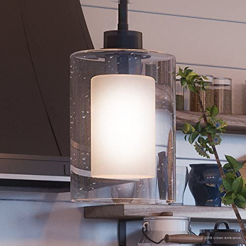 Luxury Contemporary Pendant Light, Small Size 10 H x 5.875 W, with Modern Farmhouse Style Elements, Charcoal Finish, UHP2261 from The Memphis Collection by Urban Ambiance