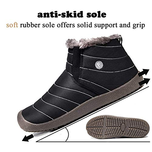 a6a08259306 SITAILE Snow Boots, Women Men Fur Lined Waterproof Winter Outdoor Slippers  Slip On Ankle Snow