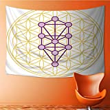 Printsonne Wall Tapestry The Ten Sephirots of The Kabbalah fits in The Flower of Life a geometricalfigure Over Lapping Home Decorations for Living Room Bedroom 60W x 40L Inch