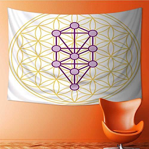 Printsonne Wall Tapestry The Ten Sephirots of The Kabbalah fits in The Flower of Life a geometricalfigure Over Lapping Home Decorations for Living Room Bedroom 60W x 40L Inch by Printsonne