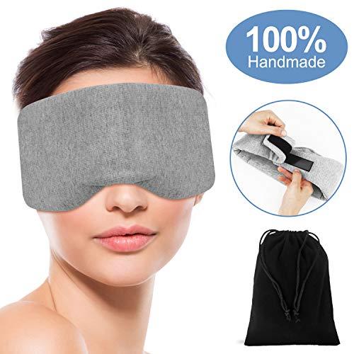 Handmade Cotton Eye Mask for Sleeping, Comfortable Breathable Sleep Eye Mask, Sleep Aid Blindfold Adjustable Blinder Eye Mask with Travel Pouch (Grey)