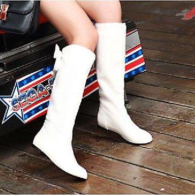 amp;xuezi Herbst Weiß Schwarz 5 GLL cm Stiefel Komfort Khaki Damen Normal PU white Winter 2 Unter Braun RqfpdTw