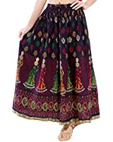 Rangsthali cotton Printed Straight long Skirt for women (size: length- 38 Inches) Waist- non stretch- 26 X After Stretch- 38 Inches