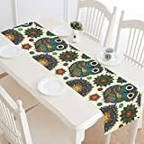 InterestPrint Tribal Ethnic Owl Table Runner Home Decor 14 X 72 Inch,Animal Owl Floral Table Cloth Runner for Wedding Party Banquet Decoration