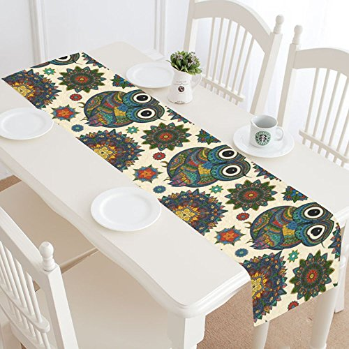 InterestPrint Tribal Ethnic Owl Table Runner Home Decor 14 X