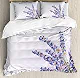 Lavender Duvet Cover Set by Ambesonne, Little Posy of Medicinal Herb Fresh Plant of Purple Flower Spa Aromatheraphy Organic, 3 Piece Bedding Set with Pillow Shams, Queen / Full, Lavander