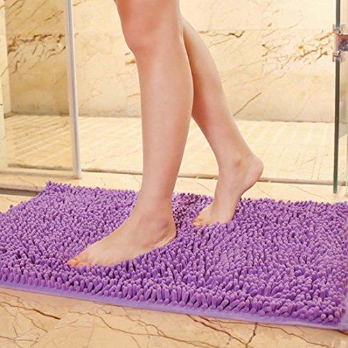 - DaringOne Soft Microfiber Polyester Non-Slip Rectangular Shag Mat, Plush Water Absorbent Accent Rug for Bathroom Vanity, Bathtub/Shower mat Lavender Purple 15''x23''