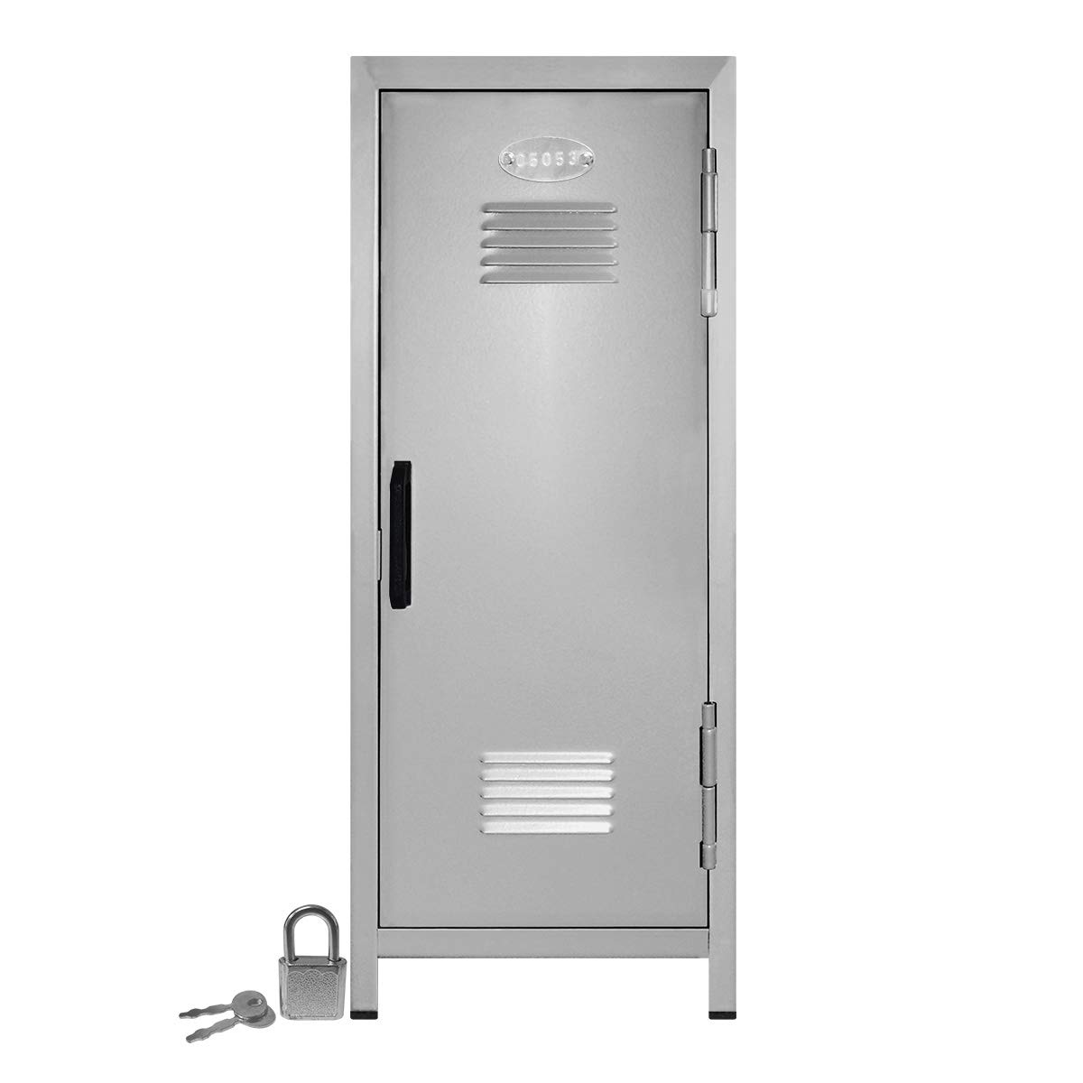 Mini Locker with Lock and Key Silver -10.75'' Tall x 4.125'' x 4.125'' by Mini Lockers by Magnetic Impressions