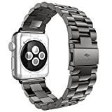 iVAPO Solid Stainless Steel Replacement Strap for Apple iWatch (MM593) - Space Gray 42mm by iVAPO