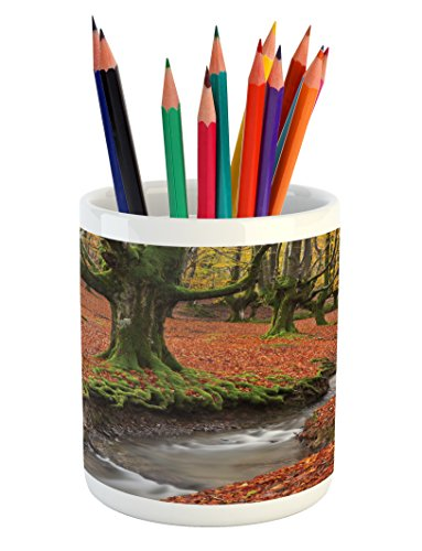 Lunarable Landscape Pencil Pen Holder, Flowing Stream Colorful Autumn Forest Leaves Gorbea Natural Park Spain, Printed Ceramic Pencil Pen Holder for Desk Office Accessory, Paprika and Green by Lunarable