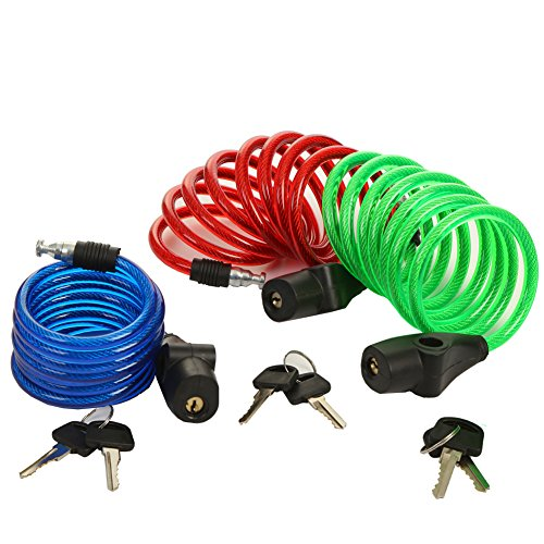 SEPOX Bike Lock 6-Feet Bike Cable Lock with 2 Keys Designed for Protecting Your Bike Accessories Like Helmet, Wheel, Saddle, Bags, etc.