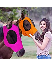 2 Pieces Horse Fly Mask Horse Mask with Ears Smooth and Elasticity Fly Mask with UV Protection (Orange, Pink, L)