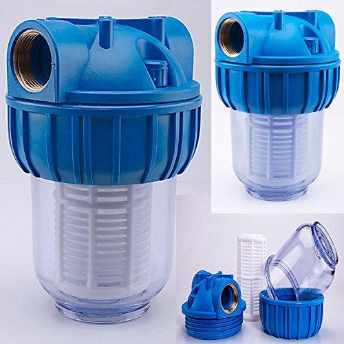 Vorfilter 1'' - 3000 L/h für Garten Pumpen / Hauswasserwerke / Schmutz filter / Sandfilter / Plus Wandhalterung und Filterschlüssel
