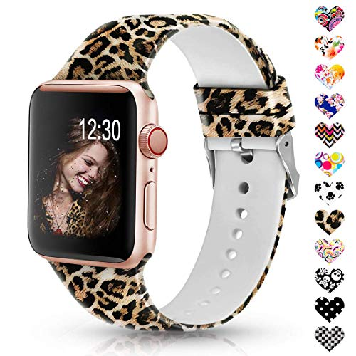 (Sunnywoo Leopard Bands Compatible with Apple Watch Band 38mm/40mm/42mm/44mm, Soft Silicone Fadeless Pattern Printed Replacement Sport Bands for iWacth Series 4/3/2/1, S/M M/L for)