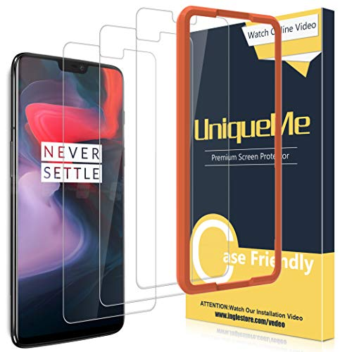 [3 Pack] UniqueMe for Oneplus 6 Screen Protector,[Alignment Frame][Japan Tempered Glass]