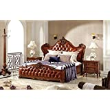 Ma Xiaoying King Bed,Solid beech frame,Genuine Leather,European Classic style,Carved by hand.Nut-brown by Ma Xiaoying