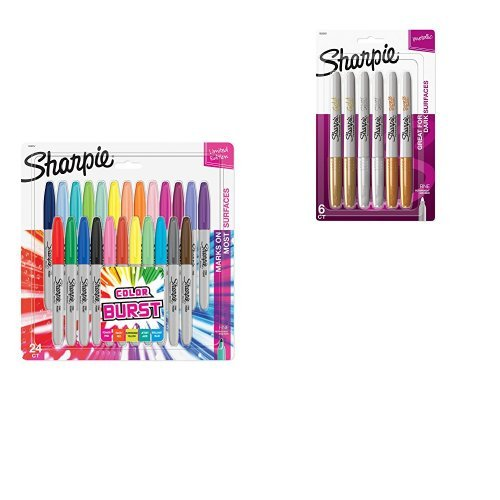 Sharpie Color Burst Permanent Markers, Fine Point, Assorted Colors, 24-Count and Metallic Permanent Markers, Fine Point, Assorted Colors, 6-Count ()