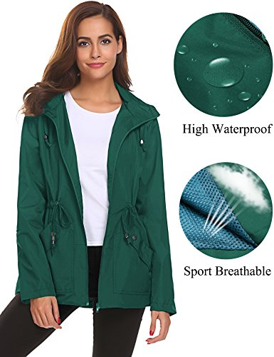 Romanstii Rain Jacket,Womens Ladies Waterproof Outwear with Hood Mesh Lining Raincoat Short