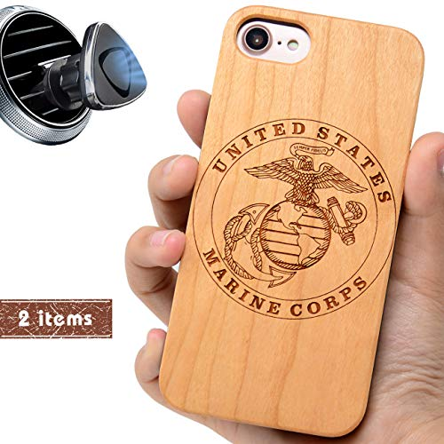 (iProductsUS Military Phone Case Compatible with iPhone 8 7 6/6S Plus (ONLY) and Magnetic Mount-Real Wood Cases Engraved US Marine, Built in Metal Plate, TPU Rubber Shockproof Protective Cover (5.5
