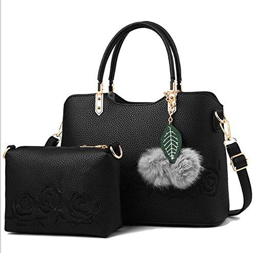 Printing piece Leather Mother Lxyiun Embroidered Brown Women Crossbody Black Bag Pu Bag Handbag Two Bag Fashion Hand qqYRn81