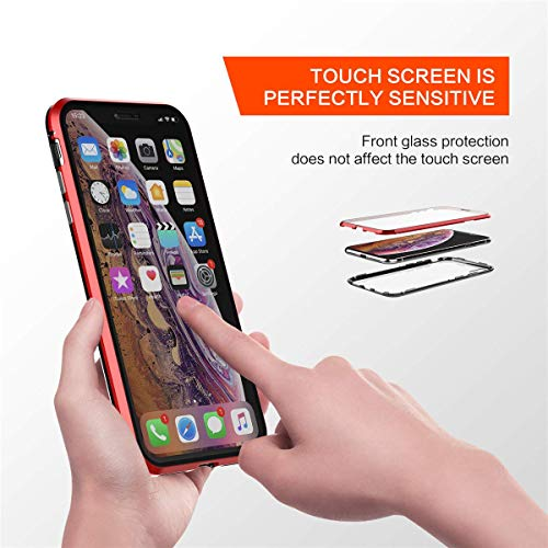 Galaxy S10 Case,Magnetic Adsorption Case Front and Back Clear Tempered Glass 360° Full Body Protection Flip Cover for Samsung Galaxy S10 (Black+Black, Samsung Galaxy S10) by IQIYEVOLEW (Image #4)