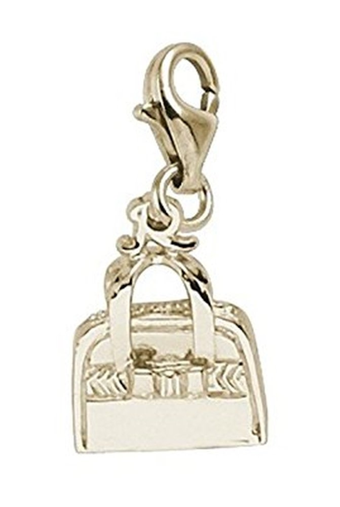 14K Yellow Gold Purse Charm With Lobster Claw Clasp, Charms for Bracelets and Necklaces