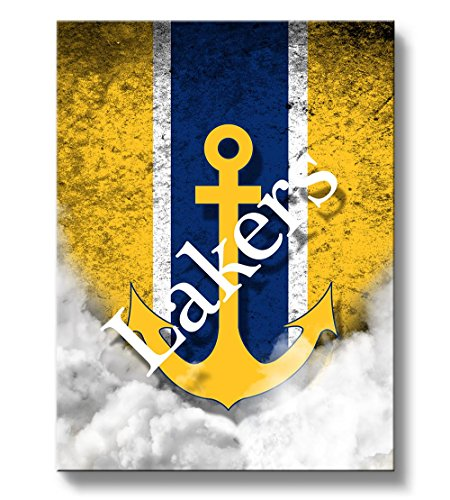 Lake Superior State LSSU Lakers Canvas Wall Art Vintage Design (12x12)