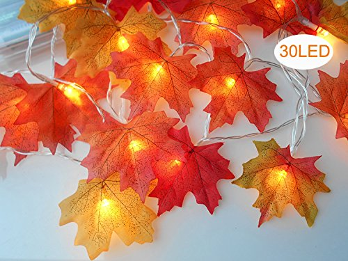 sexyrobot Fall Maple Leaves Garland, Faux Orange Harvest Lights Decoration Battery Powered Lighted Garland with 30 Lights, 9.8 Feet Orange Red Leaves