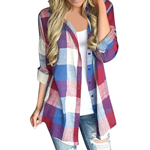 FEITONG Women Casual Matching Color Plaid Long Sleeve Button Loose Shirt Blouse Top(L,Red)