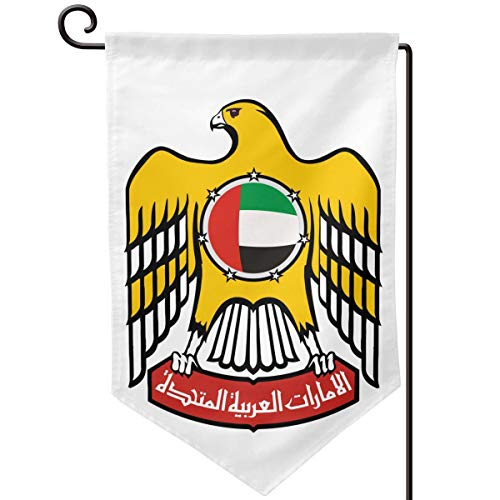 X-JUSEN Coat of Arms of United Arab Emirates National Emblem Personalized Garden Flag, Outdoor Yard Decor, Vertical Double Sided Holiday Themed Flags - 12.5 X 18 Inch, Decorative -