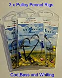 searigs 2 Hook Pulley Rig (Pennel) 3/0 + 3/0 Cod & Bass x 3 Packs