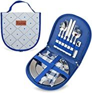 Camping Silverware Set with Case, 23 Pcs Camping Mess Kit with Stainless Steel Plates, Picnic Set for 4, Trave