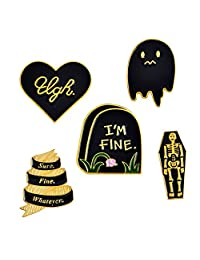 Cartoon Skull Women's Brooches Collar Pin Set Enamel Button Badge Pins Black Totem Bound for Jacket Shirt Halloween Costume Accessories