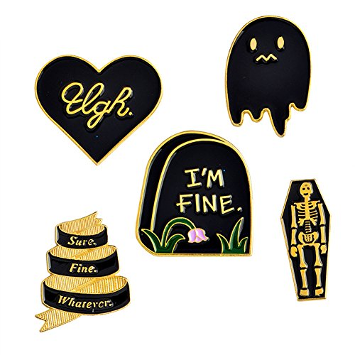 Cartoon Skull Women Brooches Collar Pins Set Enamel Button Badge Black Totem Bound for Jacket Shirt (I'm fine) -