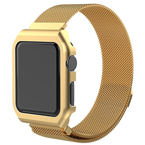 Watch Band for iWatch, MoreToys Milanese Loop Stainless Steel Replacement Wrist Band Strap with Metal Protective Case for Apple Watch Series 3, Series 2 and Series 1 (42MM, Gold)