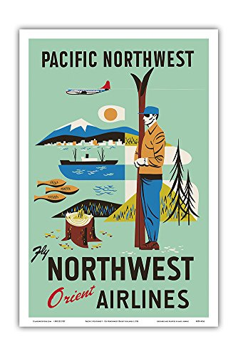 Pacific Northwest - Fly Northwest Orient Airlines - Vintage Airline Travel Poster c.1956 - Master Art Print - 12in x 18in - Northwest Orient Airlines