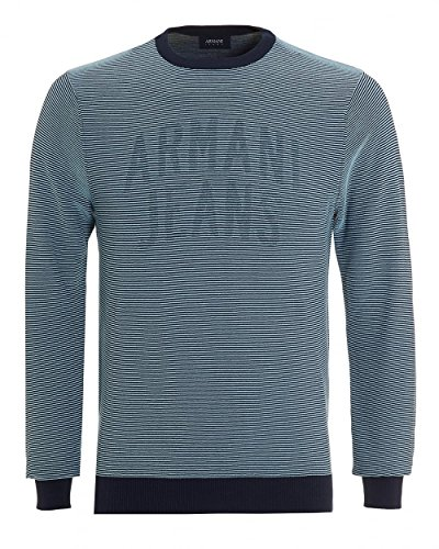 ARMANI JEANS Men's Regular Fit 100% Cotton Logo Sweater, Stripe ()