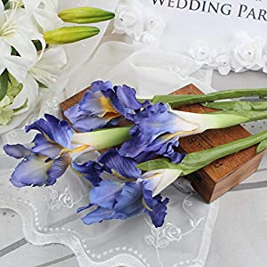 Roossys 3Pcs Blue Iris Artificial Flowers Home Decoration Party Supplies Bouquet Real Touch Flowers Home Wedding Decorative Flowers Wedding Decoration Weddings Artificial Decorations Real Touch 76