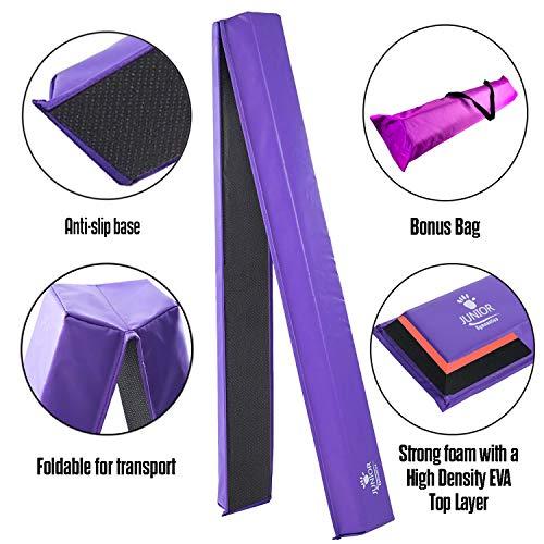 Junior Gymnastics Balance Beam - 8 Ft Folding Foam Low Floor Beam - Premium 18oz Vinyl with Additional High Density EVA Foam Strip for Safety